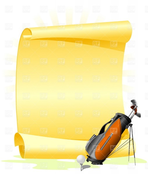 Blank Golf Invitation With Golf Bag And Ball Vector Image Of Sport