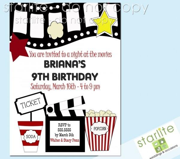 Block Party Invitation Template Movie Birthday Invitations