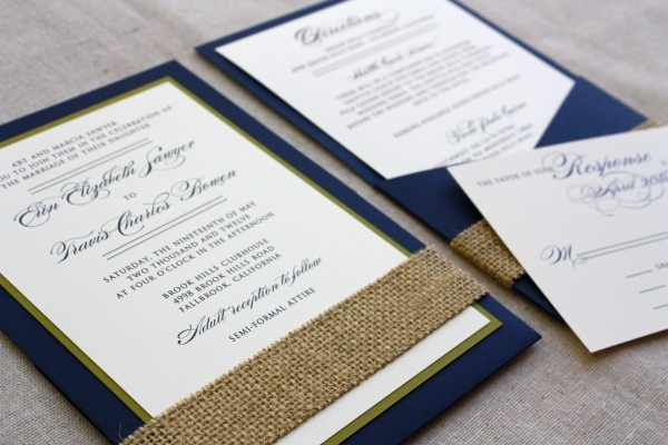 Spotted Ink  Navy Invitations With A Burlap Touch