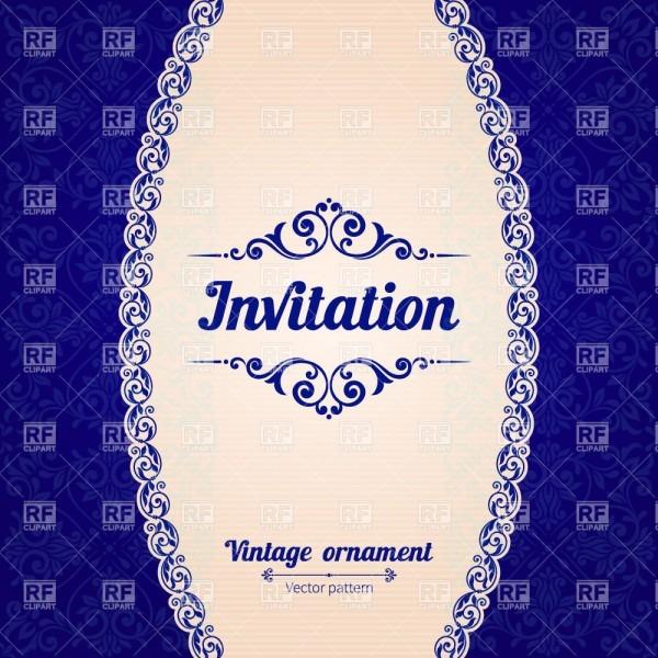 Blue Vintage Invitation Card With Damask Ornament