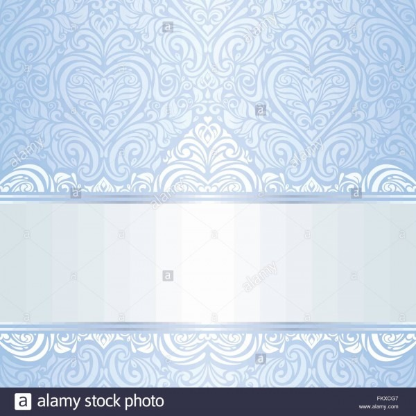 Blue Vintage Invitation Floral Wallpaper Background Pattern Design