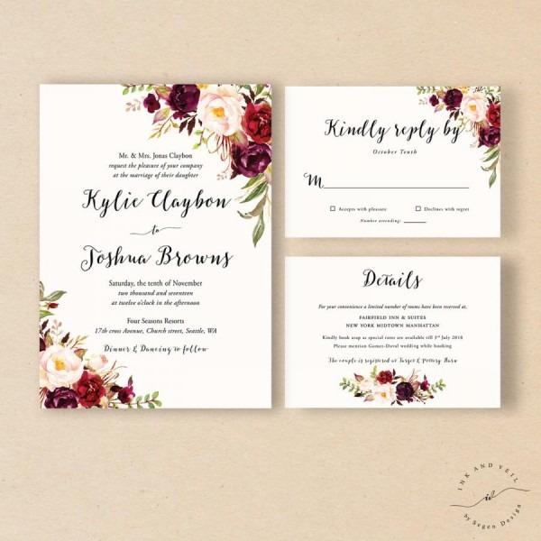 Bohemian Wedding Invitation Suite, Fall Wedding Invitation, Winter