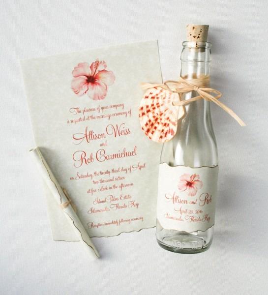Hibiscus Beach Bottle Wedding Invitations