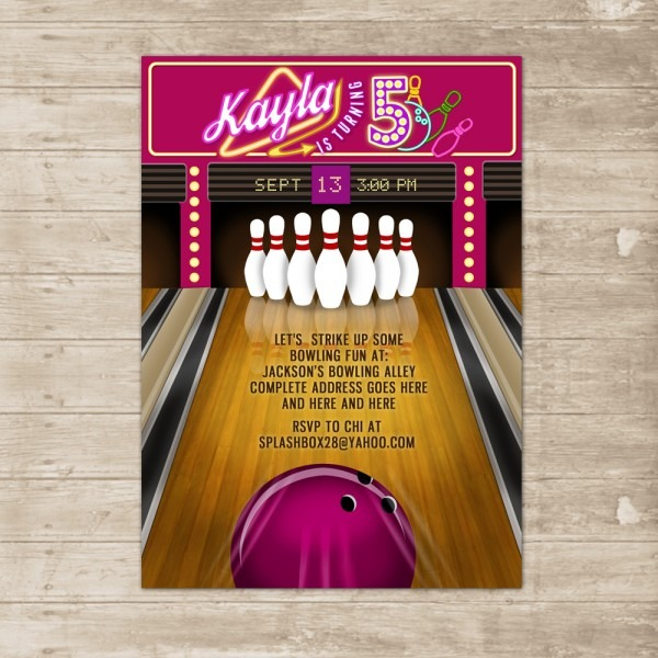 Bowling Party Invitation Bowling Lane Alley Ball Invite Birthday