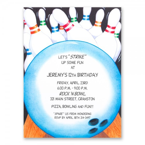 Bowling Birthday Invitations Bowling Birthday Invitations For