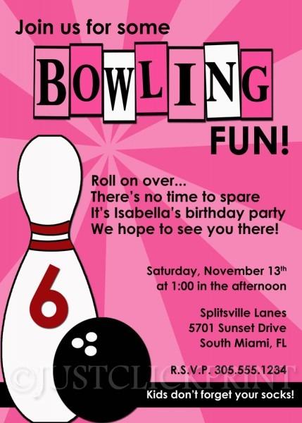 Girls Bowling Fun Birthday Photo Invitation Printable · Just Click