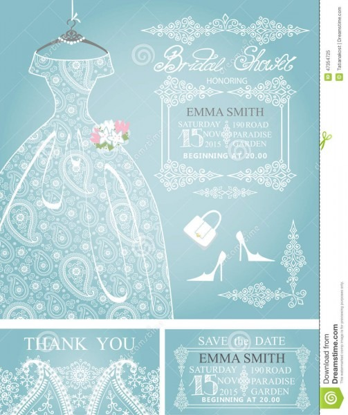 Bridal Shower Invitation Set  Wedding Paisley Lace Stock Vector