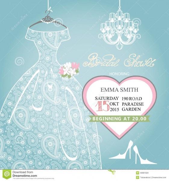 Bridal Shower Invitation Wedding Lace Dress On Stock Vector
