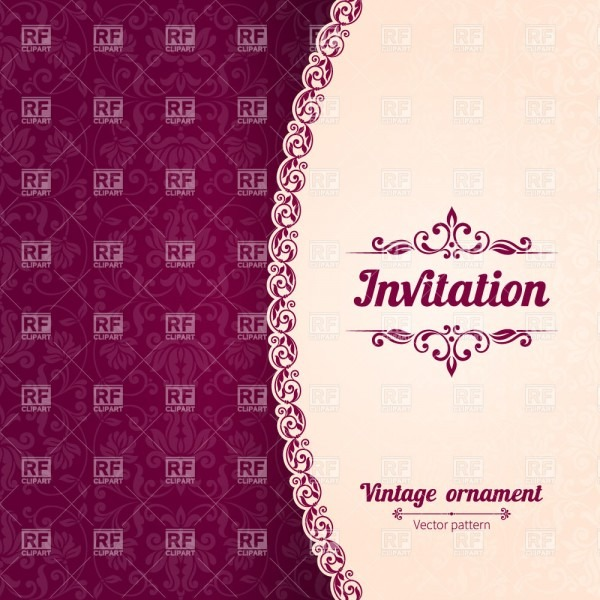 Burgundi Modern Invitation Card With Damask Ornament And Curly