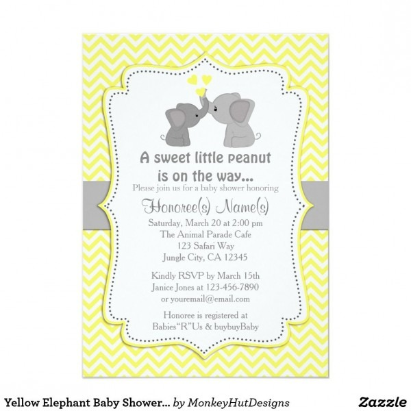 Yellow Elephant Baby Shower Invitations Chev 170 An Adorable Baby