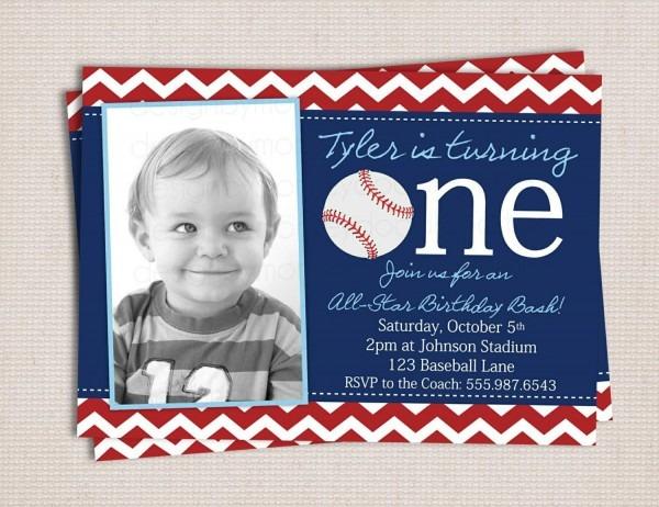 Baseball Themed 1st Birthday Party Invitations