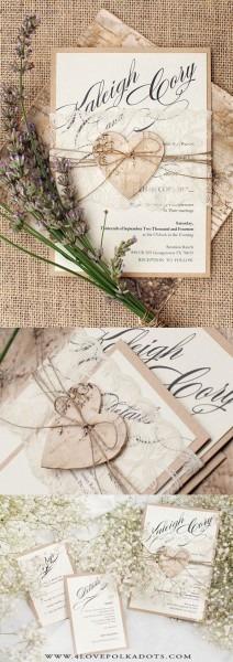 Romantic Rustic Wedding Invitation Lace & Birch Bark Heart