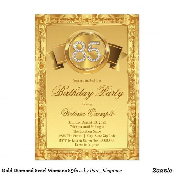 Gold Diamond Swirl Womans 85th Birthday 5x7 Paper Invitation Card
