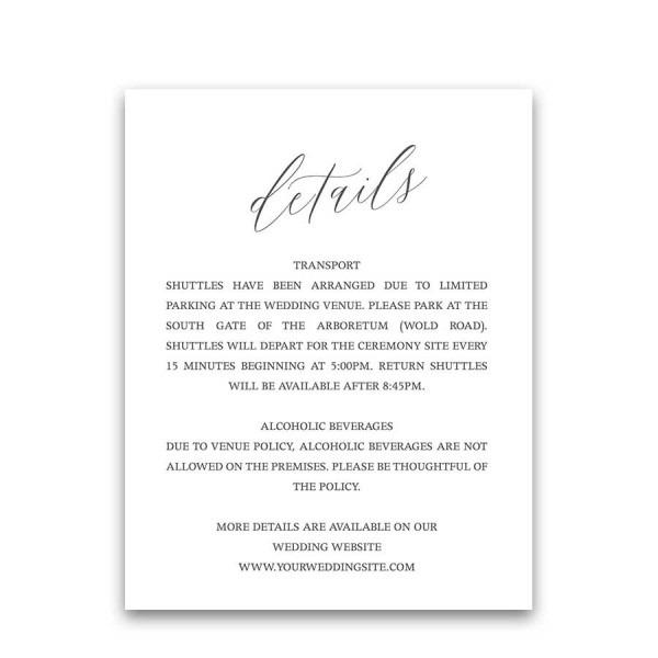Guest Information Cards Wedding Information Insert Cards