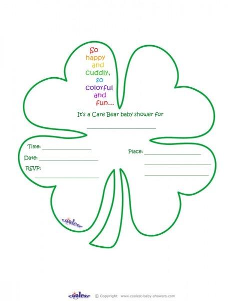 Care Bears Baby Shower Four Leaf Clover Invitation