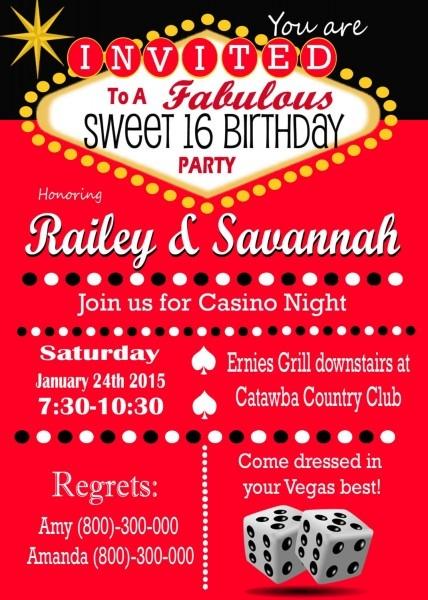 Casino Theme Party Las Awesome Las Vegas Birthday Invitations