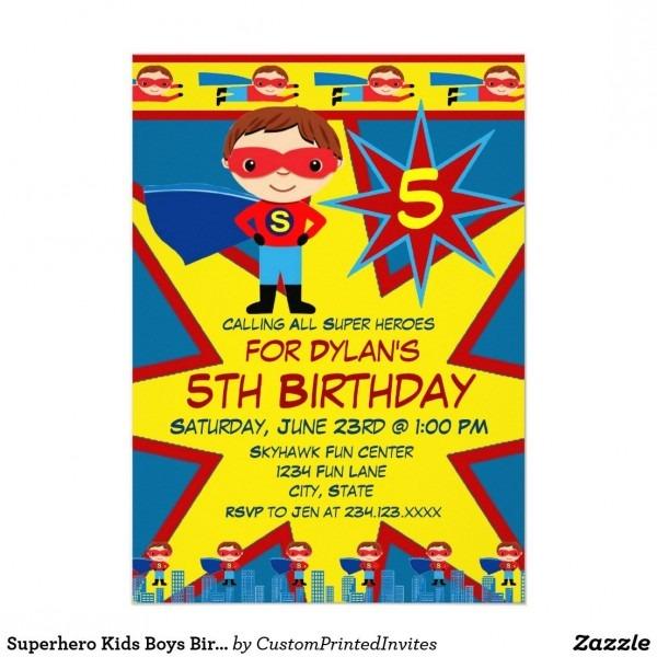 Superhero Kids Boys Birthday Party Invitation Blue Calling All