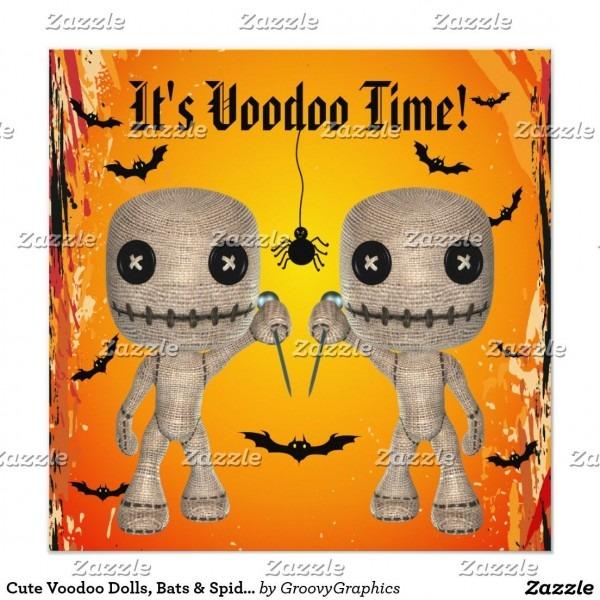 Cute Voodoo Dolls, Bats & Spider Halloween Party Invitation