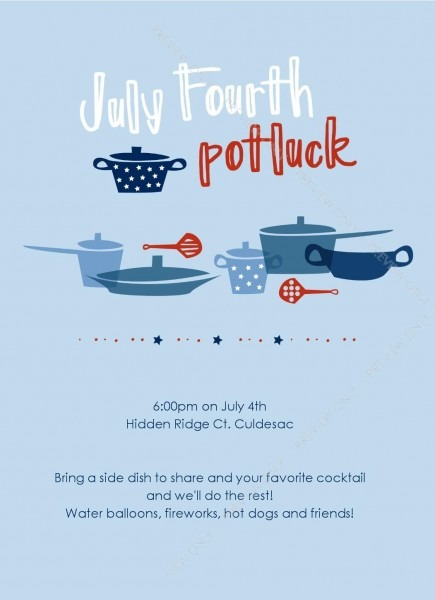 4th Of July Potluck Invitation
