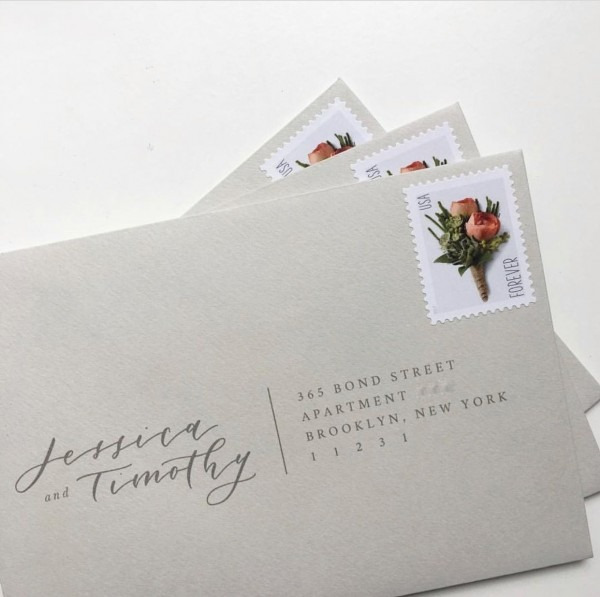 Calligraphy Names On One Side, Address On Another  Unique Wedding