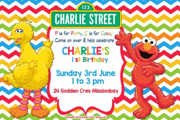 Free Sesame Street Birthday Invitations Cute Sesame Street