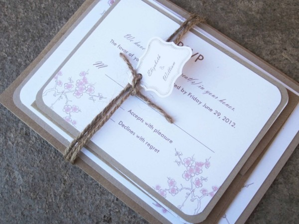 Cherry Blossom Wedding Invitation Tied With Burlap
