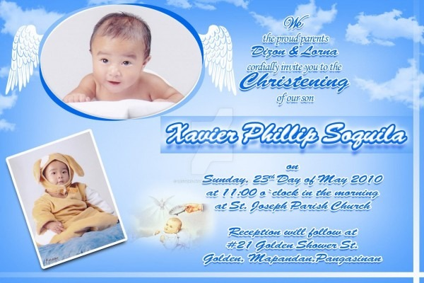 Christening Invitation Background Baby Boy From I Combined With