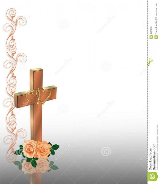 Christian Cross Wedding Invitation Stock Illustration