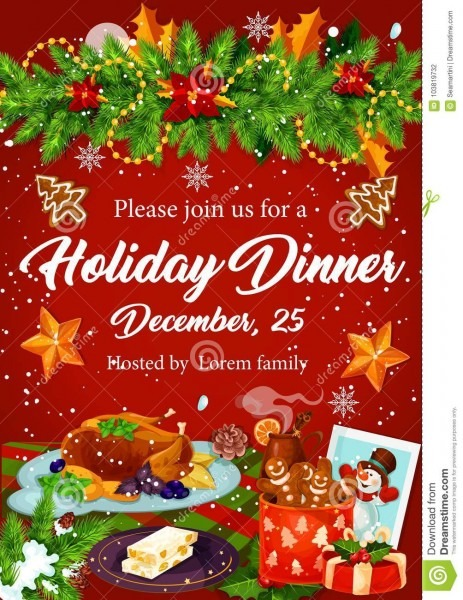 Christmas Dinner Invitation For Xmas Party Design Stock Vector
