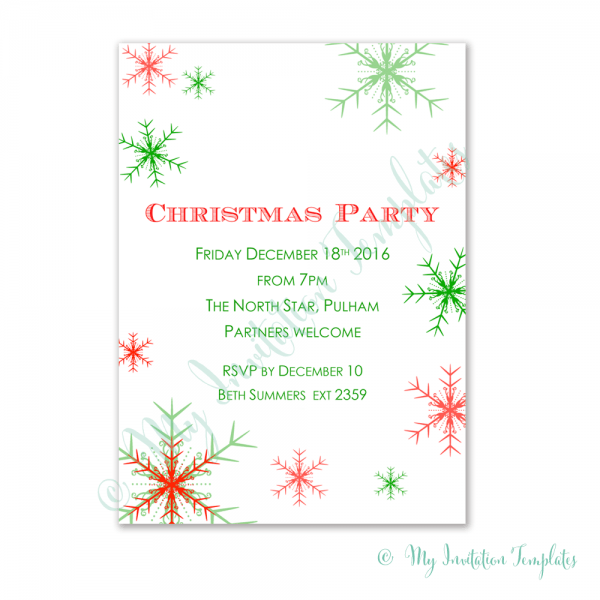 Free Christmas Party Invitation Template  Snowman Free Christmas