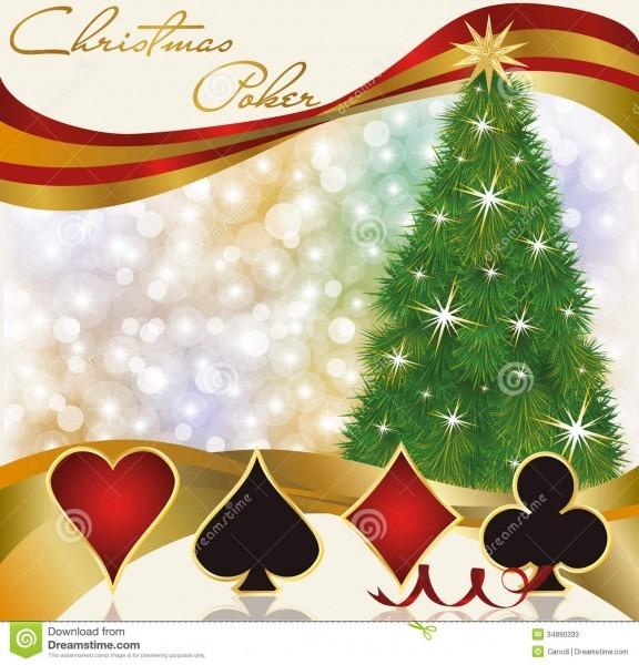 Christmas Poker Casino Background Stock Vector