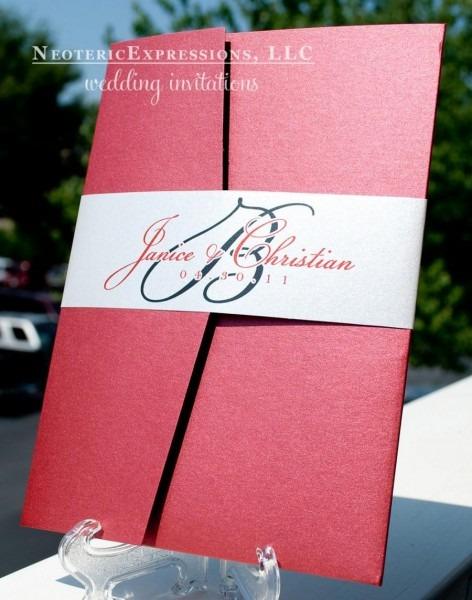 Claret Red And Silver Grey Wedding Invitation Pocketfold  2470510