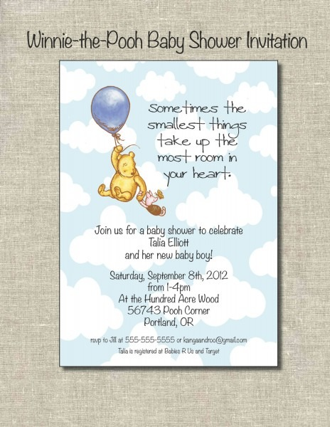 Classic Winnie The Pooh Invitations For Baby Shower