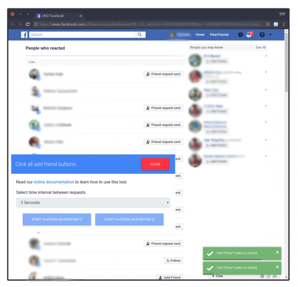 How To Click All Add Friend Buttons On Facebook