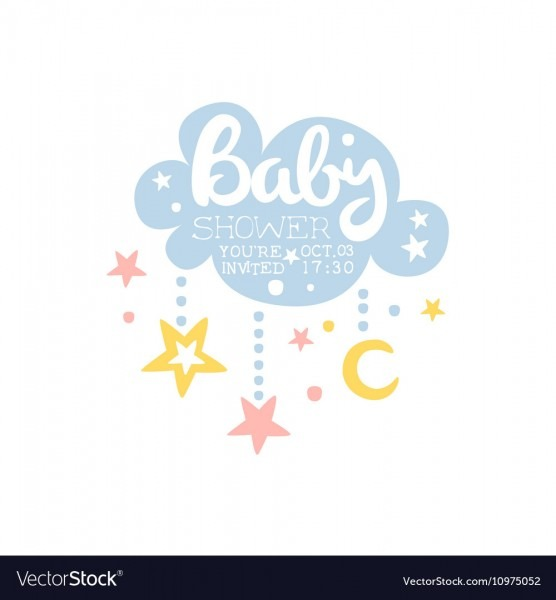 Cloud And Stars Baby Shower Invitation Design Vector Image
