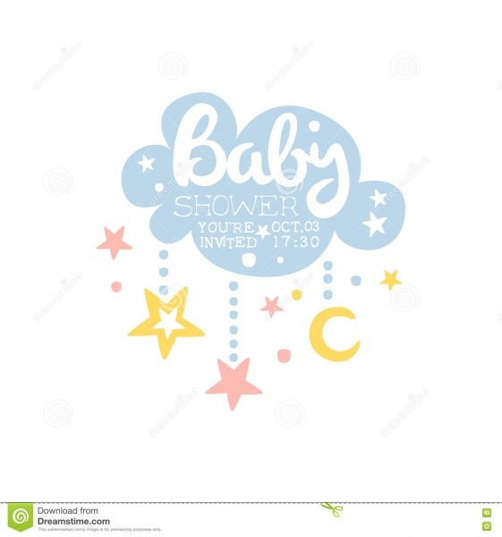 Cloud And Stars Baby Shower Invitation Design Template Stock