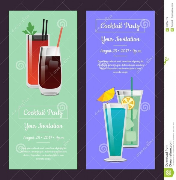Cocktail Party Invitation Banner With Bloody Mary Stock Vector