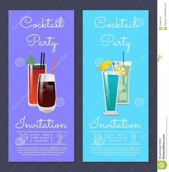 Cocktail Party Invitation Poster With Bloody Mary Stock Vector