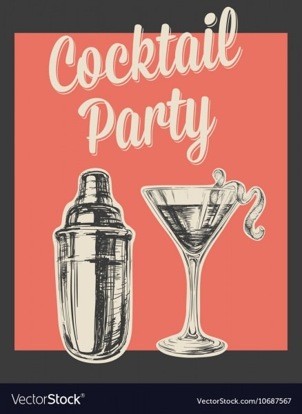 Cocktail Party Invitation Poster Royalty Free Vector Image