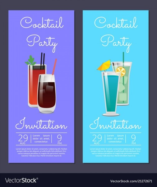 Cocktail Party Invitation Poster With Bloody Mary Vector Image
