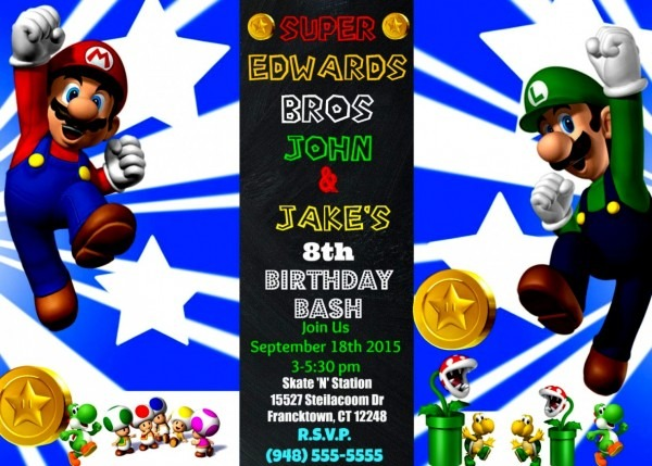 Collection Luigi Birthday Invitations Mailed Invitation Twins Boys