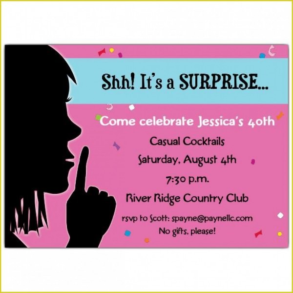 Comely Surprise Birthday Invitation Wording For Additional Free