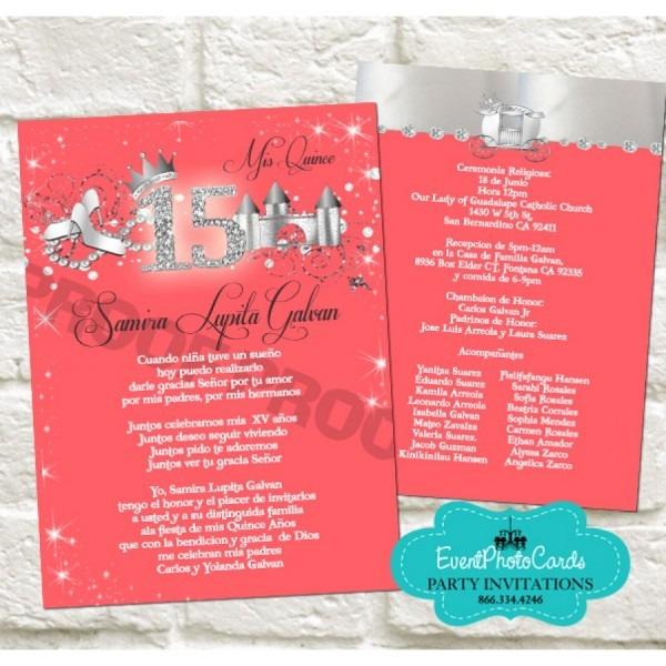 Coral Quinceanera Invitations Coral Quinceanera Invitations And
