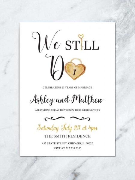Wedding Vow Renewal Diy Printable, Gold And White Wedding
