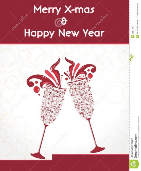 Creative Happy New Year 2014 Design With Champagne Glasses