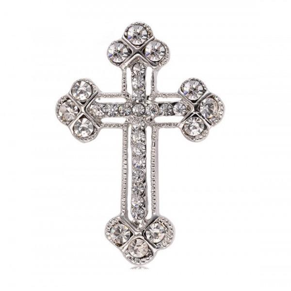 Communion Cross Brooch Embellishment With Rhinestones In Silver