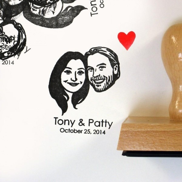 Custom Couples Portrait Stamps   Self Inking   Handle   For Rustic