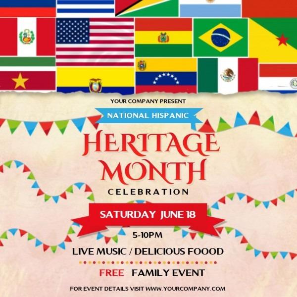 Hispanic Heritage Month Family Event Invitation Square Ad Template