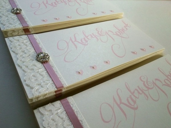 Love This, Lace & Cameo Pink Cheque Book Style Wedding Invitation