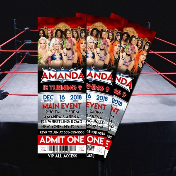 Custom Printable Wwe Divas Birthday Invitation; 2 5  X 7  Ticket